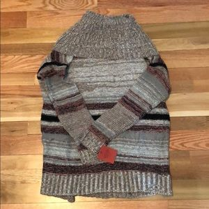 Cowl Striped Sweater with sparkle stitching